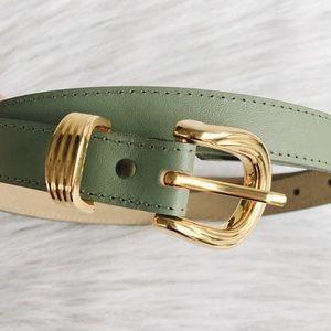 Vintage Sage Green and Gold Tone Belt